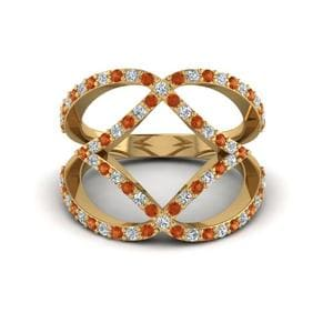 Open Interlocked Square Fashion Anniversary Diamond Ring Gifts With Orange Sapphire In 14K Yellow Gold