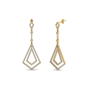 Open Kite Drop Diamond Earring In 14K Yellow Gold