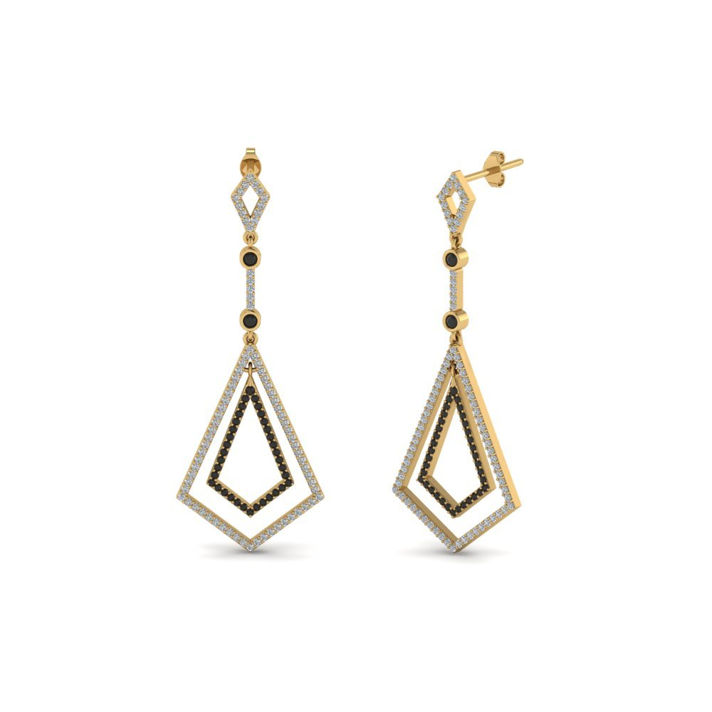 Black Diamond Open Kite Earring