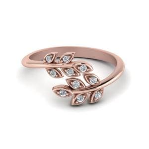 Open Leaf Diamond Band In 14K Rose Gold
