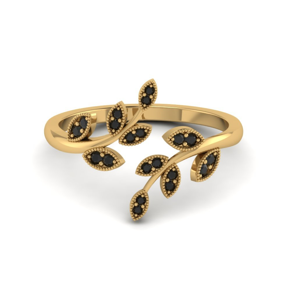 Open Leaf Engagement Ring Gemstones With Black Diamond In 18K Yellow Gold