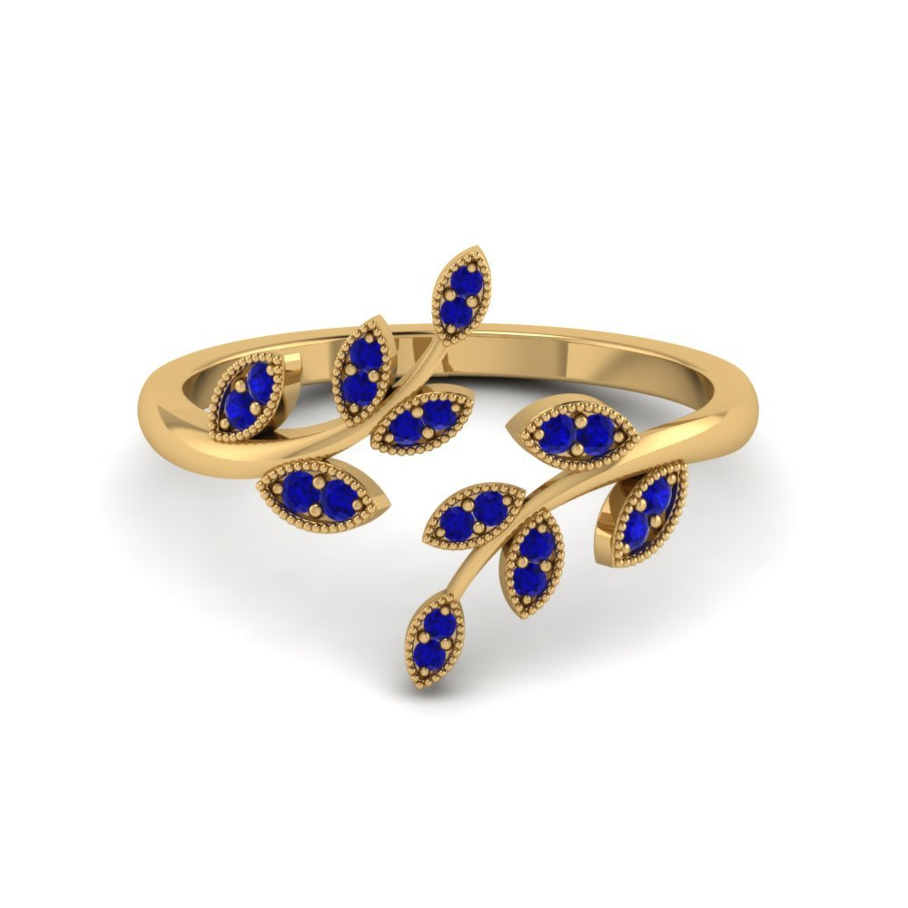 Open Leaf Engagement Ring Gemstones With Blue Sapphire In 14K Yellow Gold