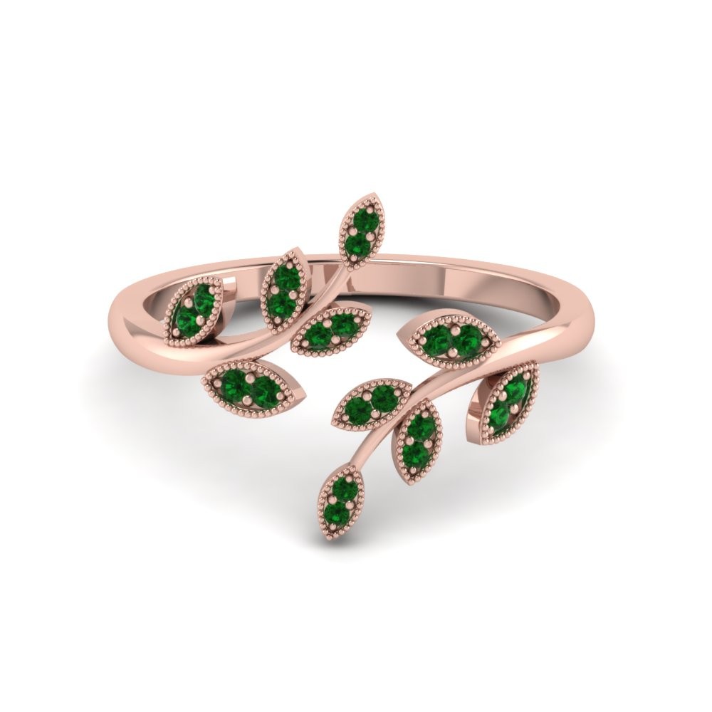 Open Leaf Engagement Ring Gemstones With Emerald In 14K Rose Gold