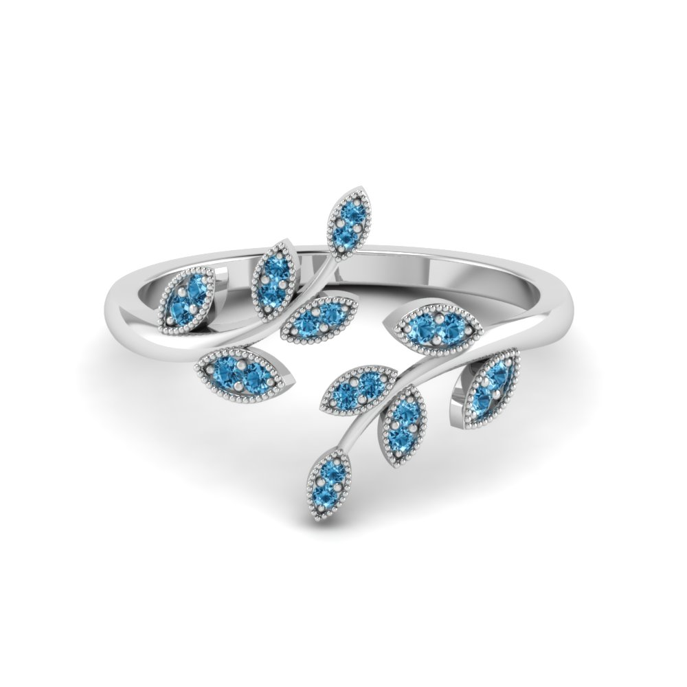 Open Leaf Engagement Ring Gemstones With Ice Blue Topaz In 950 Platinum