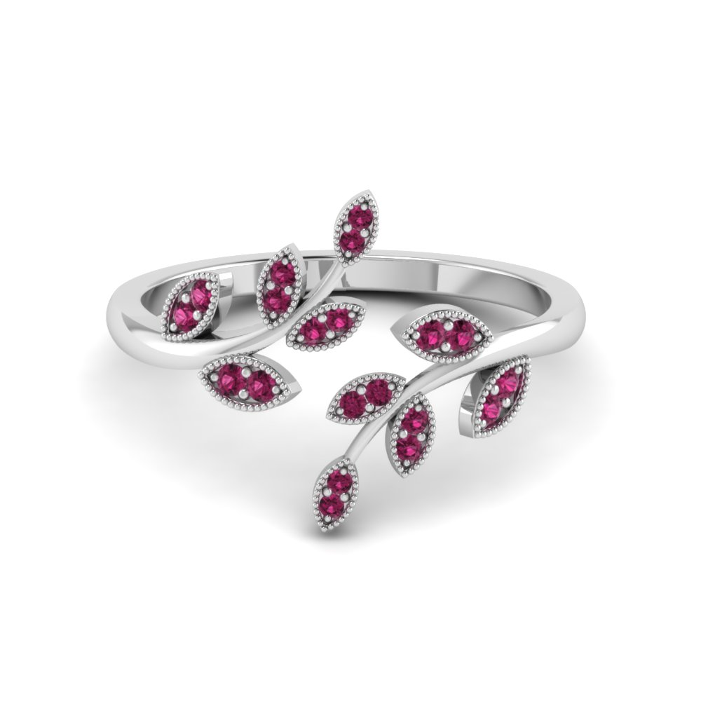 Open Leaf Engagement Ring Gemstones With Pink Sapphire In 14K White Gold