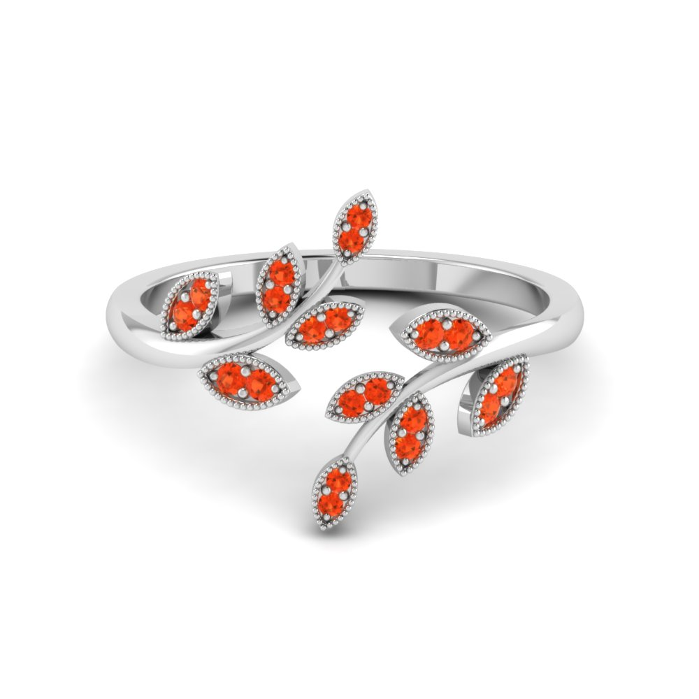 Orange Topaz Petal Design Open Ring
