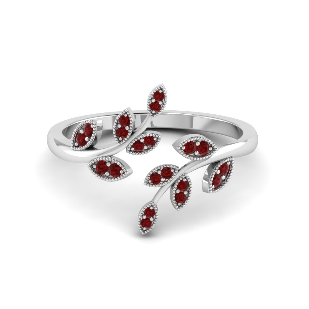 Open Leaf Engagement Ring Gemstones With Ruby In 18K White Gold