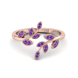 Open Leaf Engagement Ring Gemstones With Violac Topaz In 14K Rose Gold