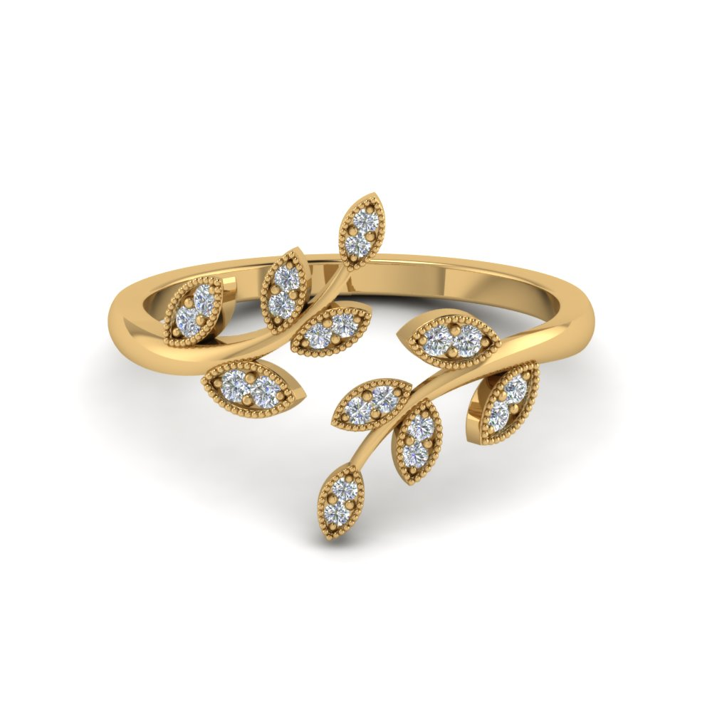 Open Leaf Diamond Engagement Ring In 14K Yellow Gold