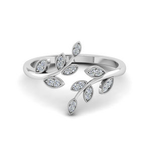 Open Leaf Fashion Diamond Engagement Ring In 14K White Gold