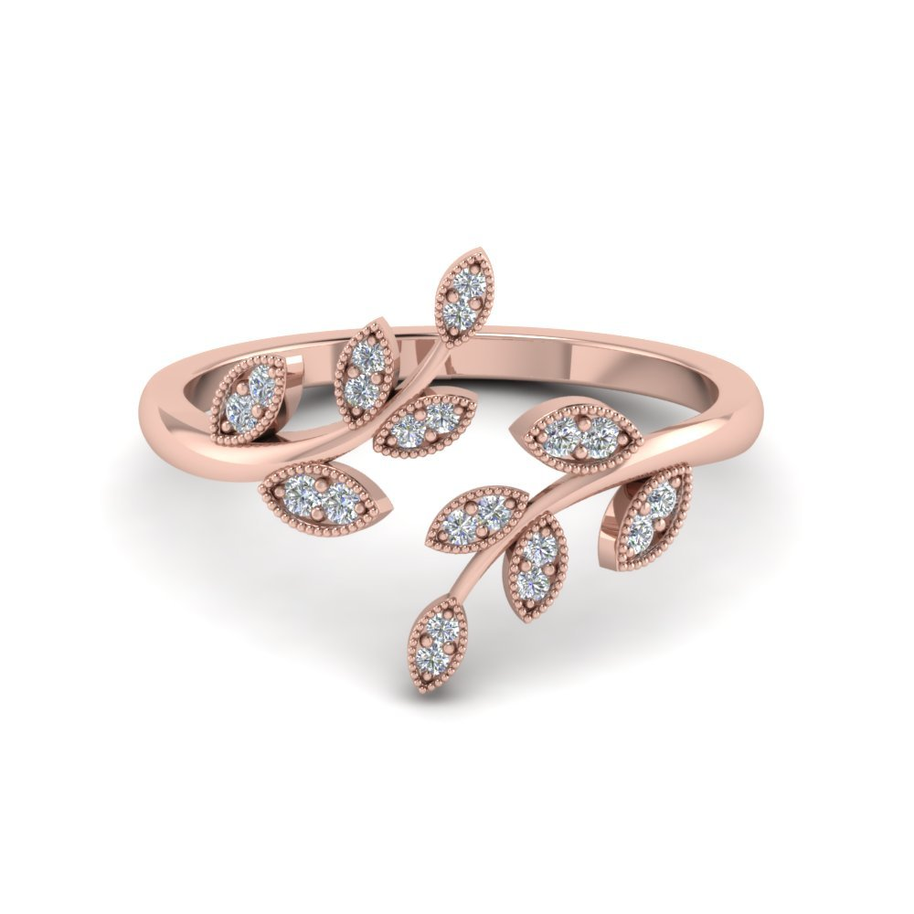 Open Leaf Fashion Diamond Engagement Ring In 18K Rose Gold