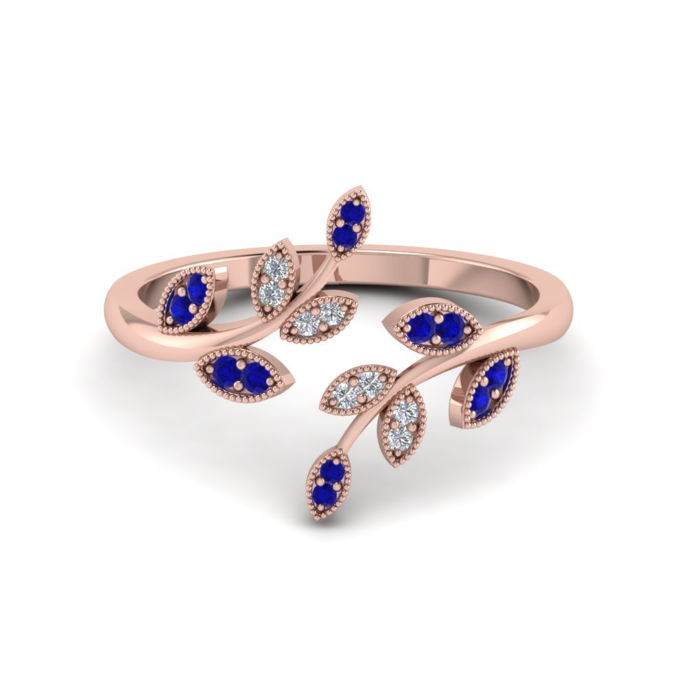 Sapphire Leaf Nature Inspired Open Ring