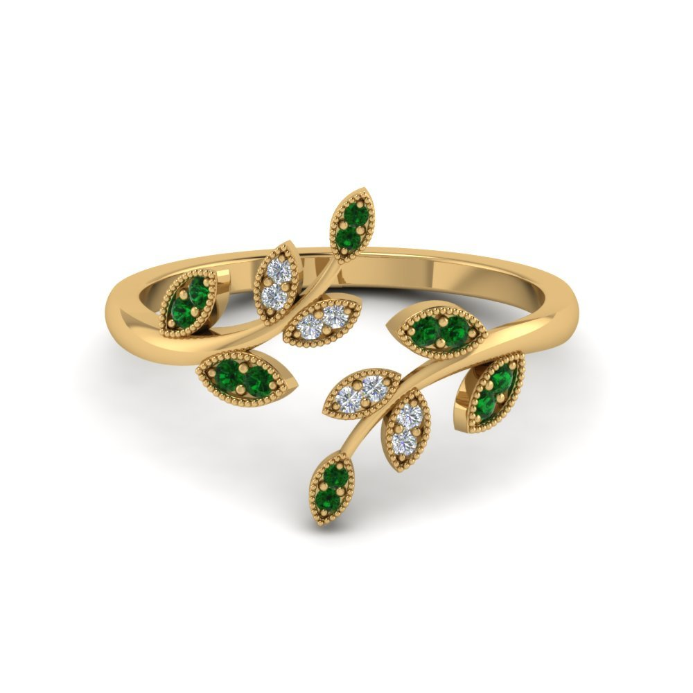 Petal Style Emerald Open Ring