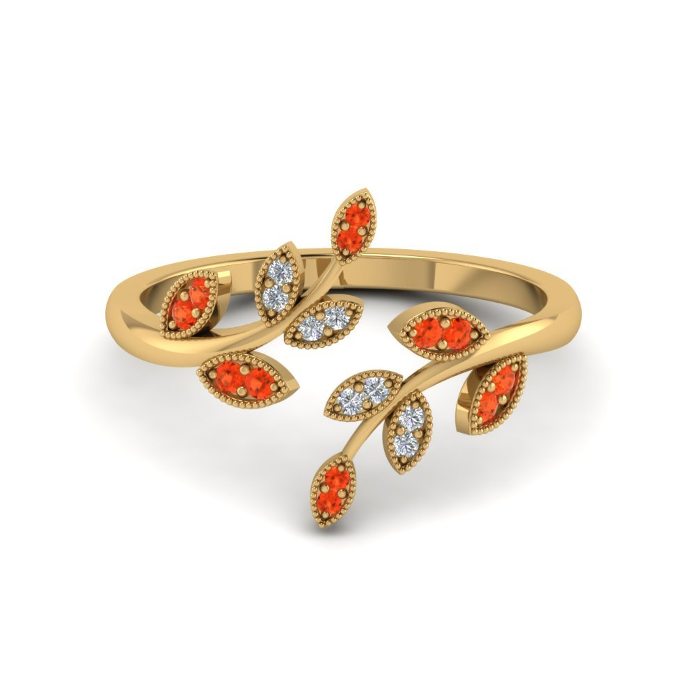 Orange Topaz Swirl Leaf Open Ring