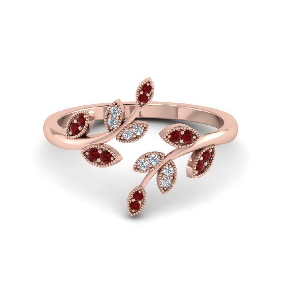 Nature Inspired Ruby Open Ring