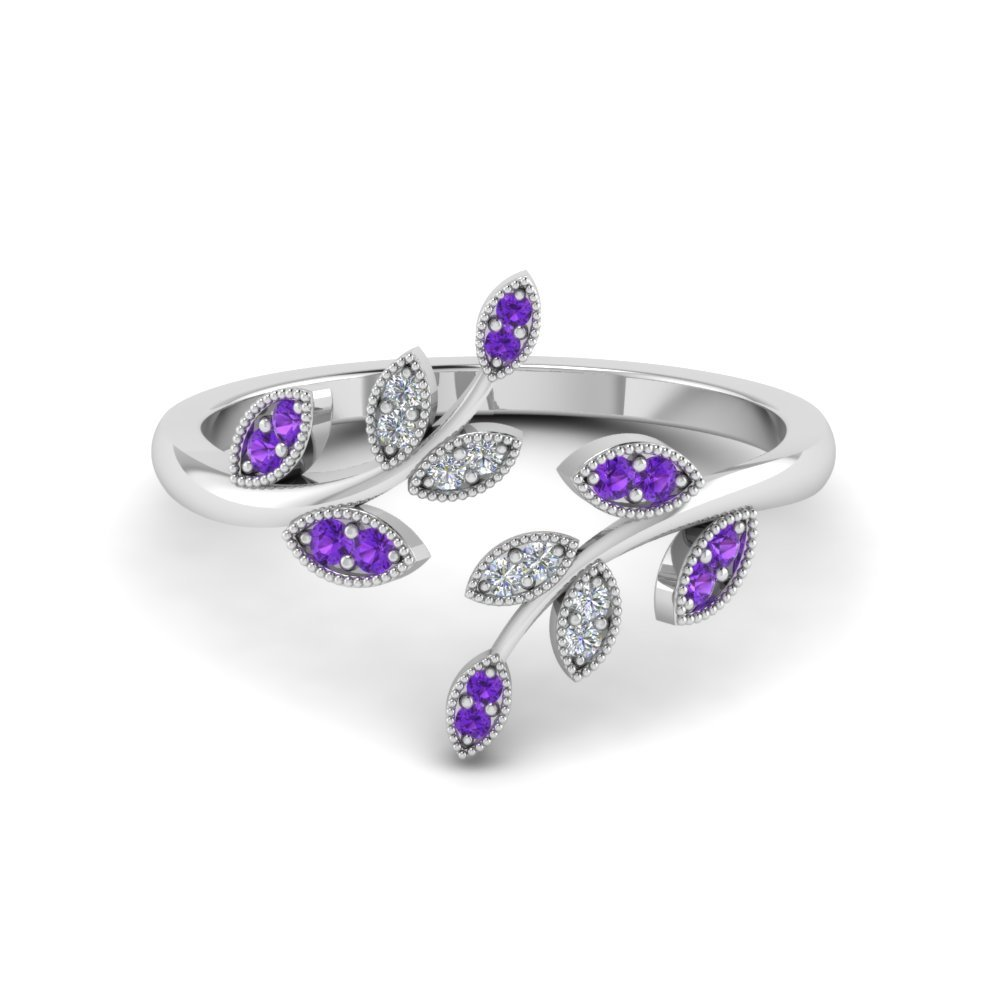 Purple Topaz With Diamond Ring