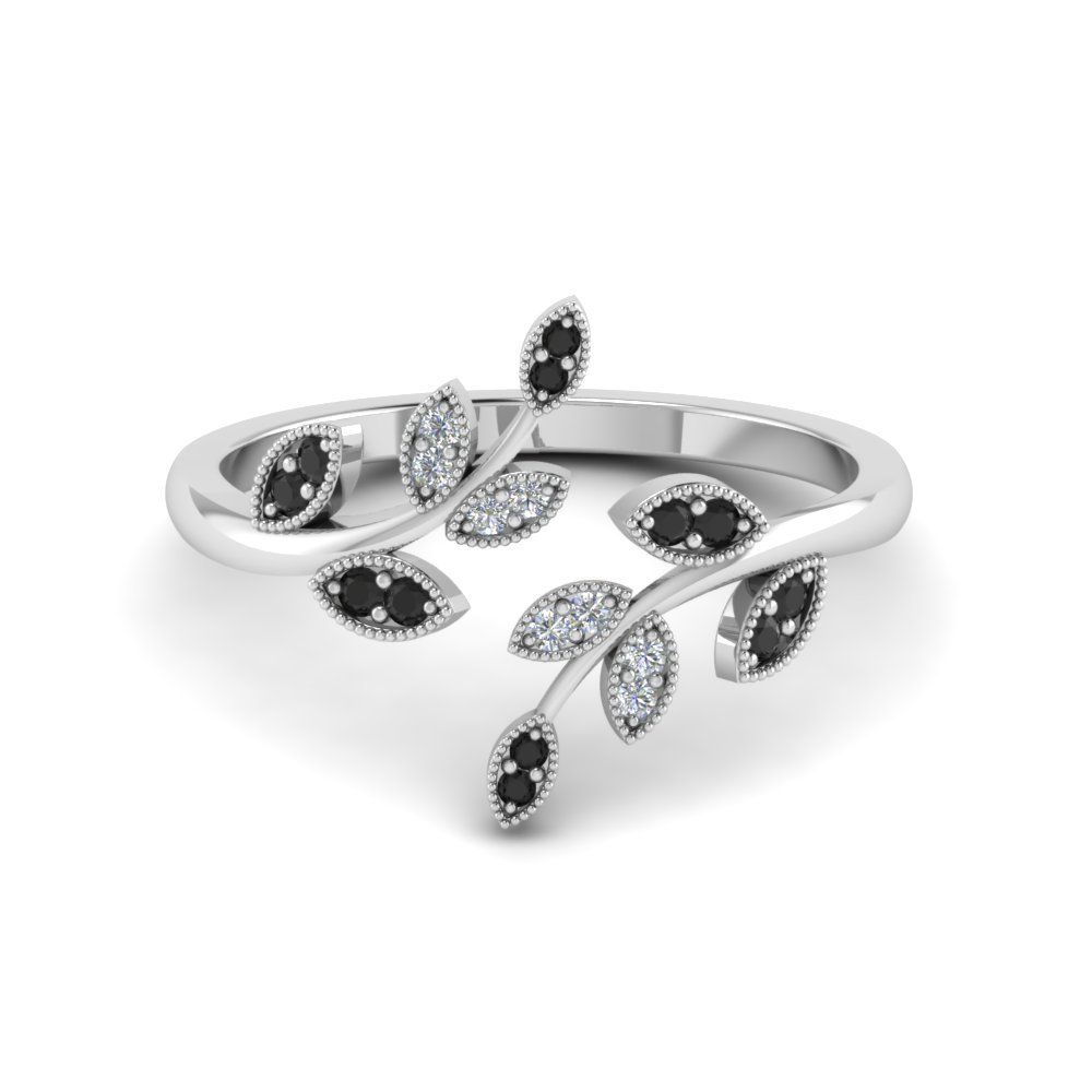 Black Diamond Leaf Design Open Ring