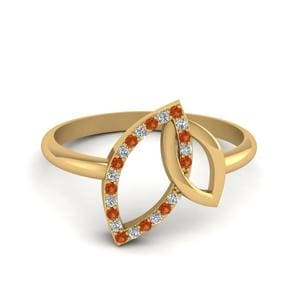 Open Marquise Diamond Interlocked Ring With Orange Sapphire In 14K Yellow Gold