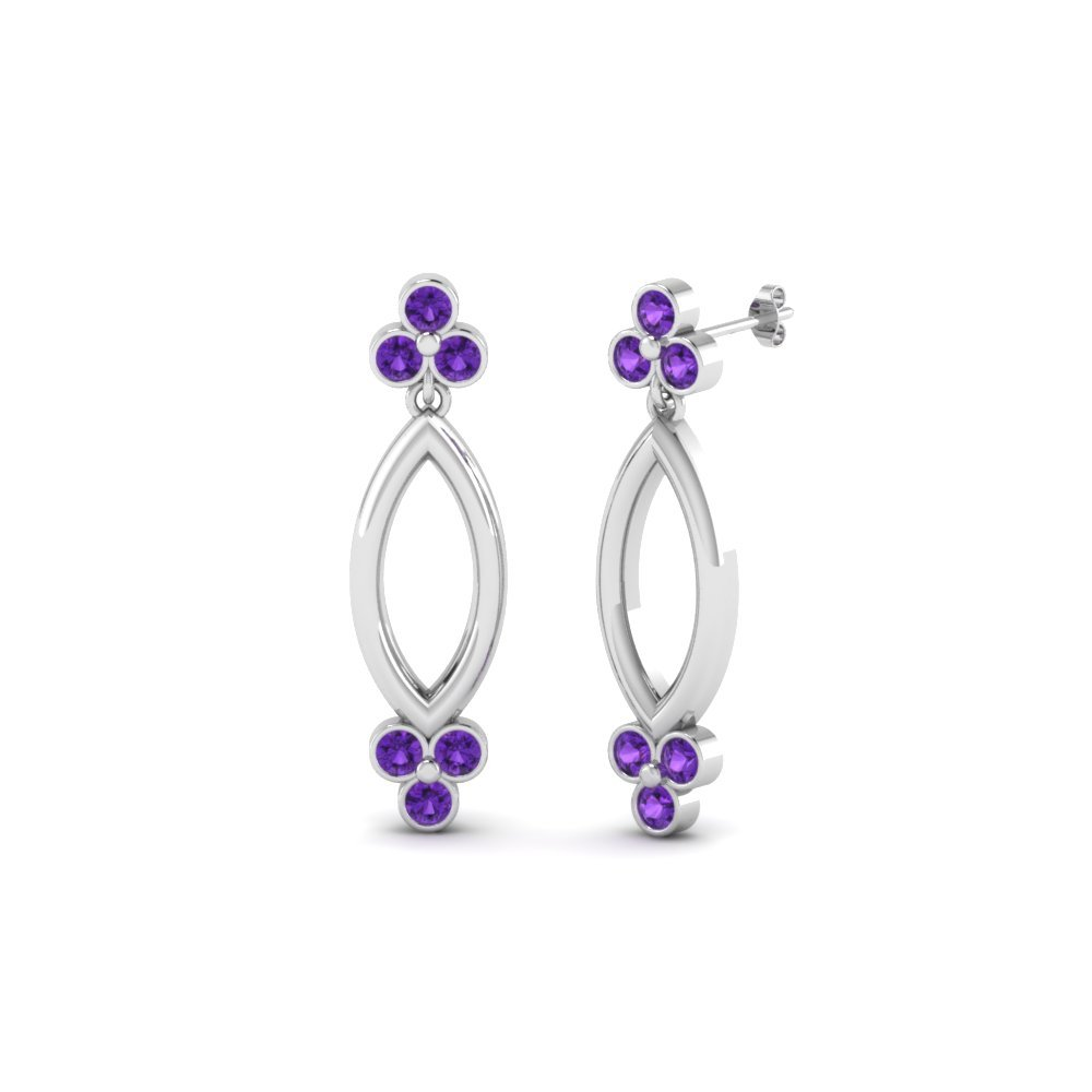Open Marquise Violet Topaz Stud Earring