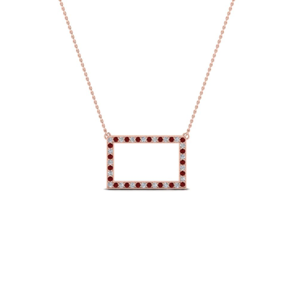 Pave Ruby Open Rectangle Necklace