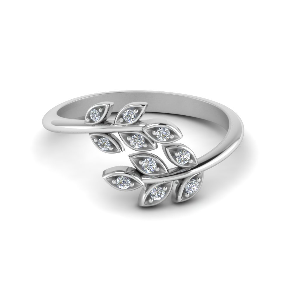 Open Ring With Beautiful Leaf Diamond Design In 14K White Gold