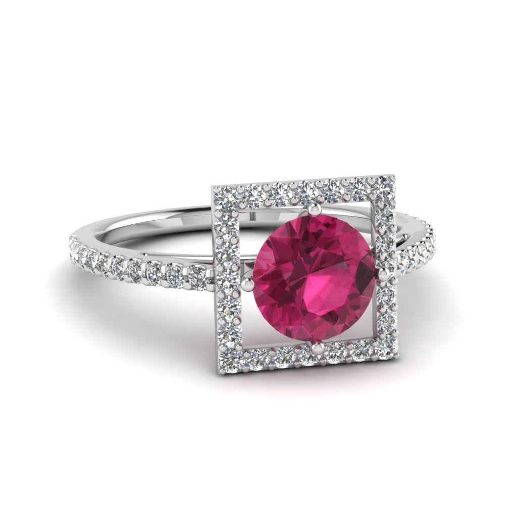 Open Square Diamond And Pink Sapphire Shank Ring