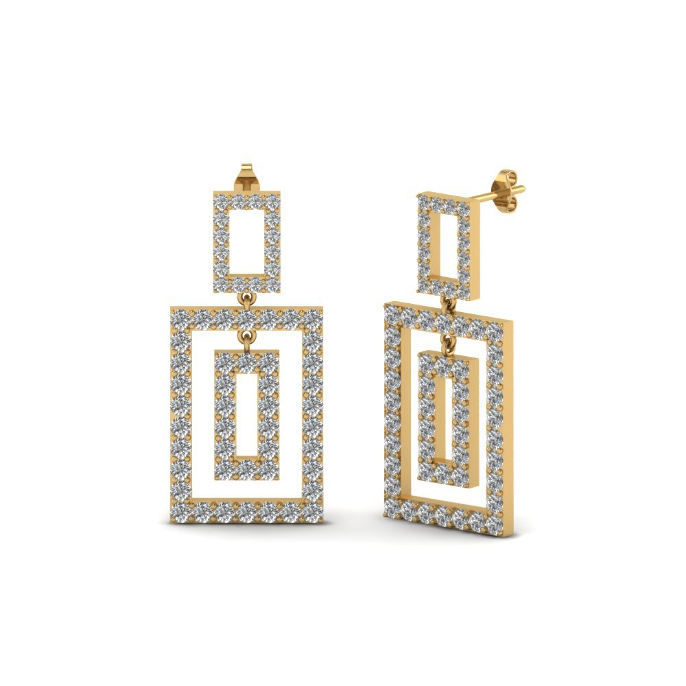 Open Square Diamond Drop Earring
