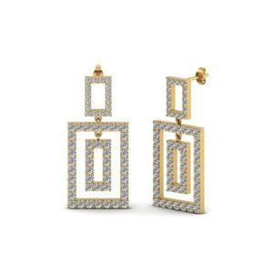 Open Square Round Diamond Drop Earring For Women In 18K Yellow Gold