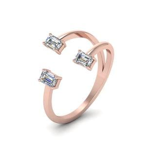 Open Trio Cuff Diamond Engagement Ring In 14K Rose Gold
