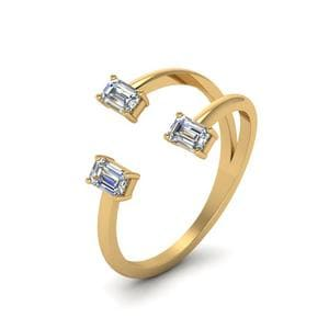 18K Yellow Gold Open Ring 3 Stone