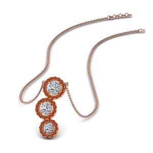 Orange Sapphire 3 Halo Diamond Drop Pendant In 14K Rose Gold