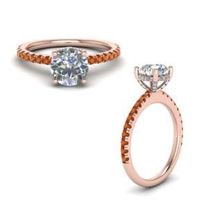 Orange Sapphire Diamond Prong Round Petite Ring In 14K Rose Gold