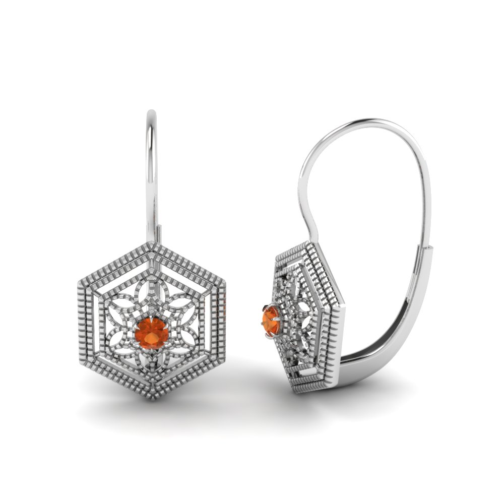 Orange Sapphire Floral Leverback Dangle Earring In 14K White Gold