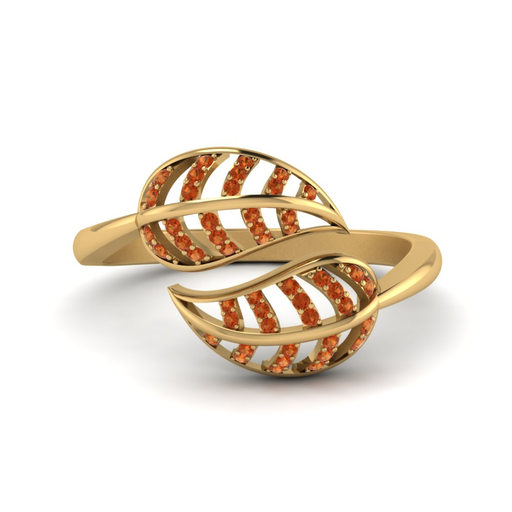 Orange Sapphire Leaf Bypass Ring In 14K Yellow Gold