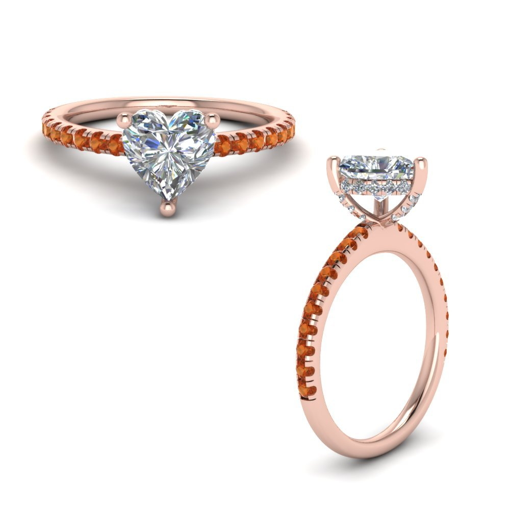 Orange Sapphire Prong Heart Shaped Diamond Petite Engagement Ring In 14K Rose Gold