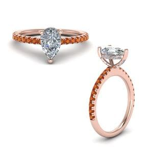 Orange Sapphire Prong Petite Ring