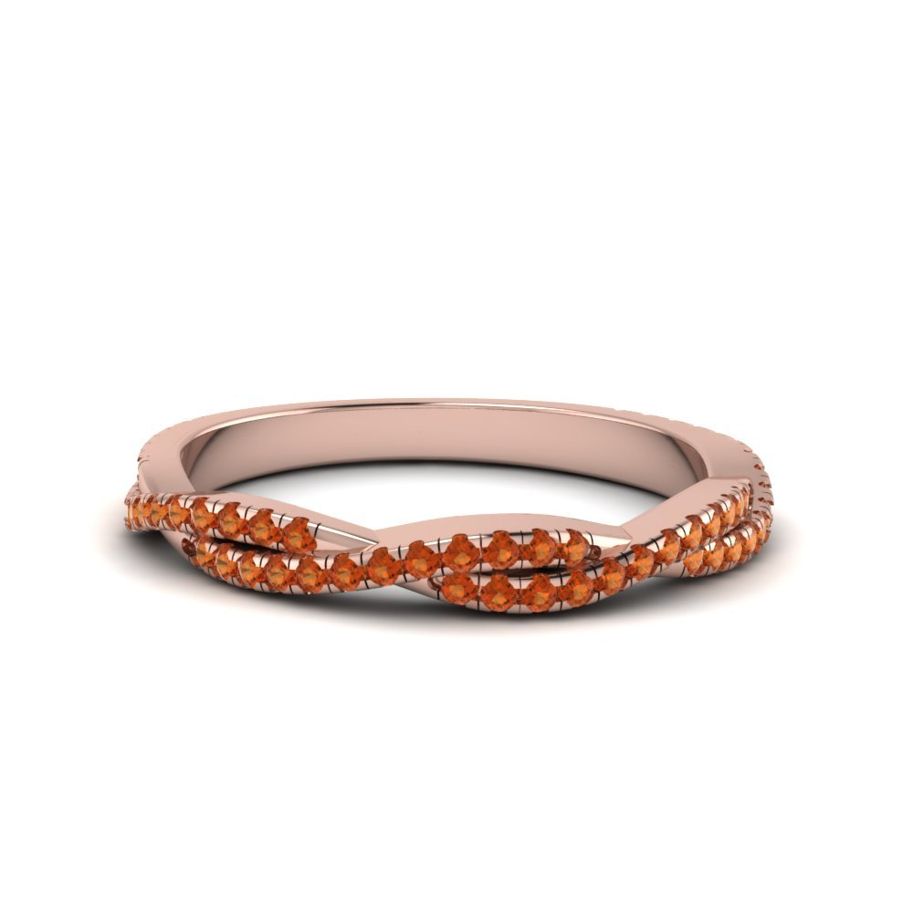 Orange Sapphire Twisted Wedding Band Gift For Her In 14K Rose Gold