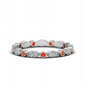 Platinum Orange Topaz Diamond Band