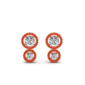 Orange Topaz Dual Halo Stud Earring