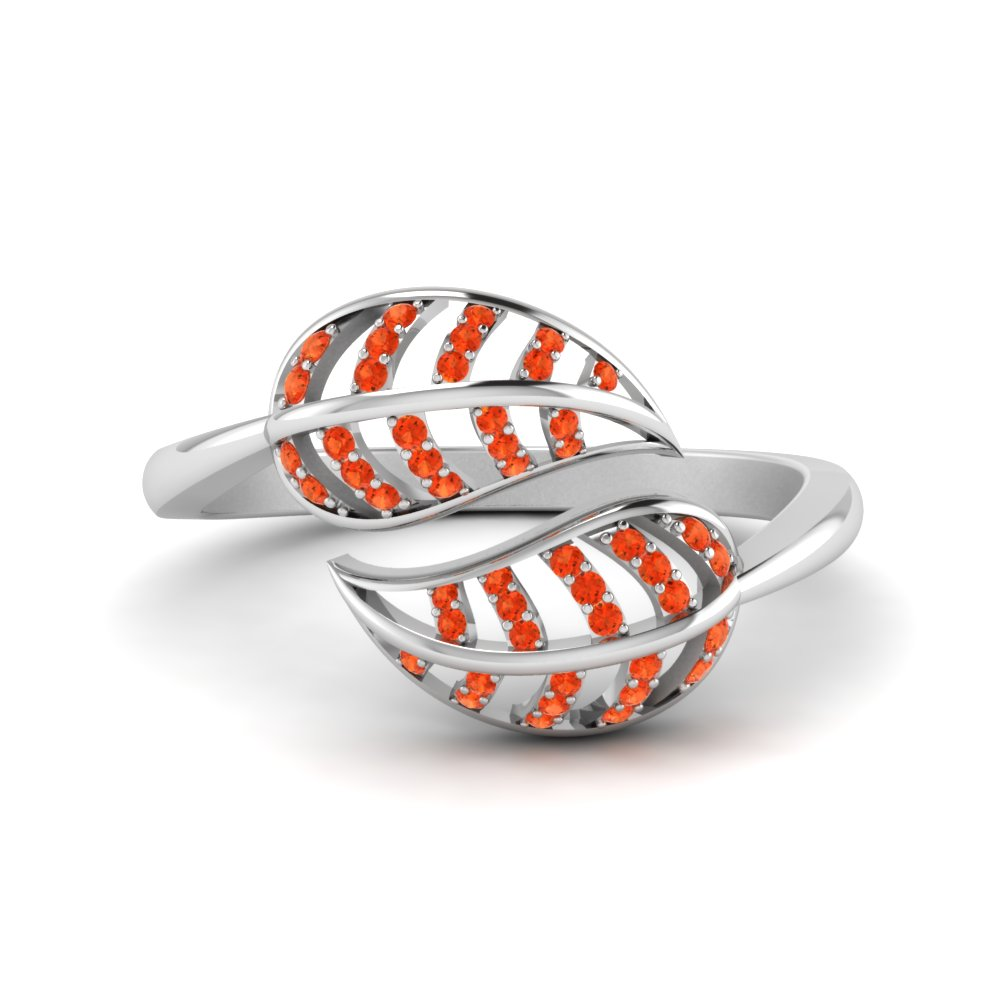 Orange Topaz Leaf Bypass Ring In 14K White Gold