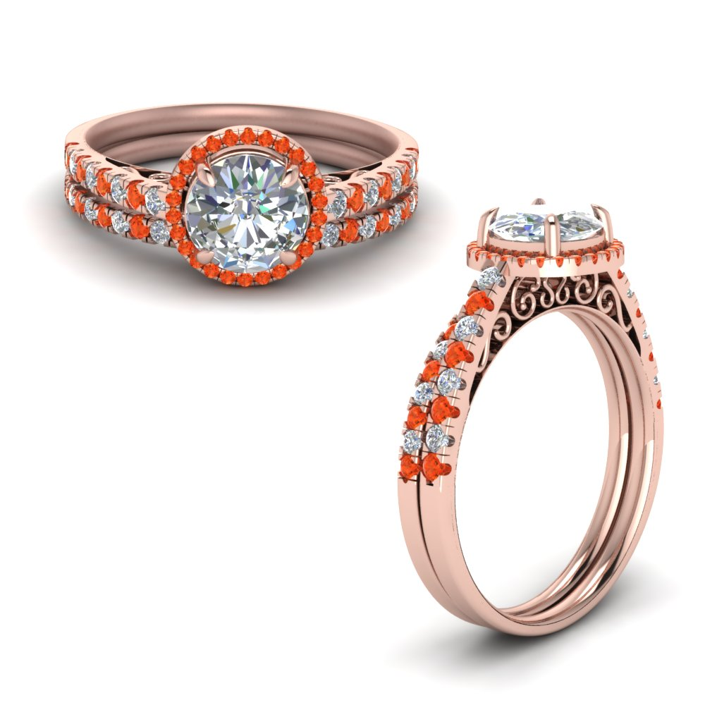 Orange Topaz Wedding Set