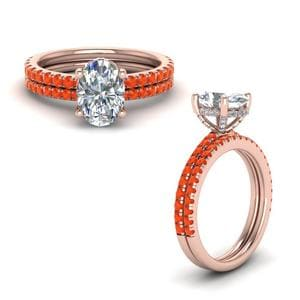 Orange Topaz Prong Oval Shaped Diamond Petite Bridal Set In 18K Rose Gold