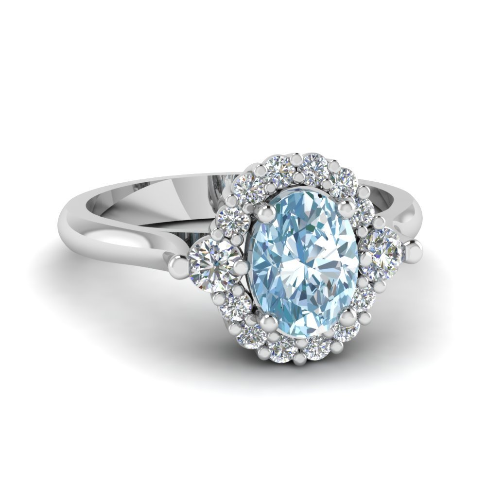 Aquamarine Traditional Engagement Ring