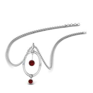 Oval Design Pendant With Ruby