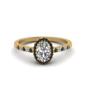 Oval Halo Delicate Engagement Ring With Black Diamond In 18K Yellow Gold