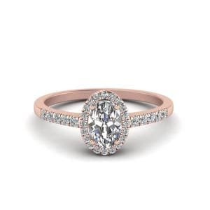 Oval Halo Diamond Delicate Engagement Ring In 14K Rose Gold
