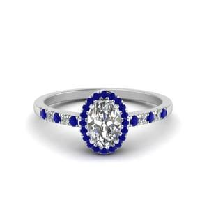 Oval Halo Diamond Delicate Engagement Ring With Blue Sapphire In 14K White Gold