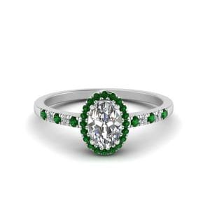 Oval Halo Diamond Delicate Engagement Ring With Emerald In 18K White Gold