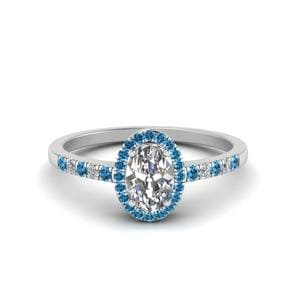 Oval Halo Diamond Delicate Engagement Ring With Ice Blue Topaz In 950 Platinum