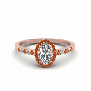 Oval Diamond Orange Sapphire Ring